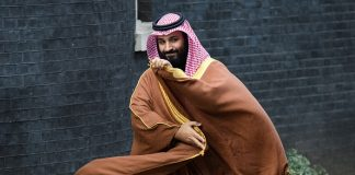 LONDON, ENGLAND - MARCH 07: Saudi Crown Prince Mohammed bin Salman arrives for a meeting with British Prime Minister Theresa May (not pictured) in number 10 Downing Street on March 7, 2018 in London, England. Saudi Crown Prince Mohammed bin Salman has made wide-ranging changes at home supporting a more liberal Islam. Whilst visiting the UK he will meet with several members of the Royal family and the Prime Minister. (Photo by Leon Neal/Getty Images)