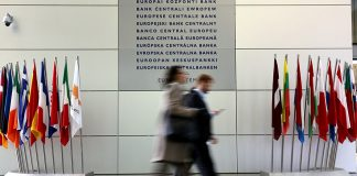 FRANKFURT AM MAIN, GERMANY - DECEMBER 08: Inside the ECB building on December 8, 2016 in Frankfurt, Germany. Germany. The ECB today announced that it would continue its trillion-euro bond-buying program, extending its purchasing for nine more months, but at a smaller pace, according to published reports. (Photo by Hannelore Foerster/Getty Images)