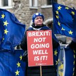LONDON, ENGLAND - MARCH 13: Anti-Brexit protesters demonstrate outside the Houses of Parliament on March 13, 2019 in London, England. Last night MPs voted 242 to 391 against British Prime Minister Theresa May's Brexit deal in the second meaningful vote. They will now vote today on whether the UK should leave the EU without a deal. (Photo by Jack Taylor/Getty Images)