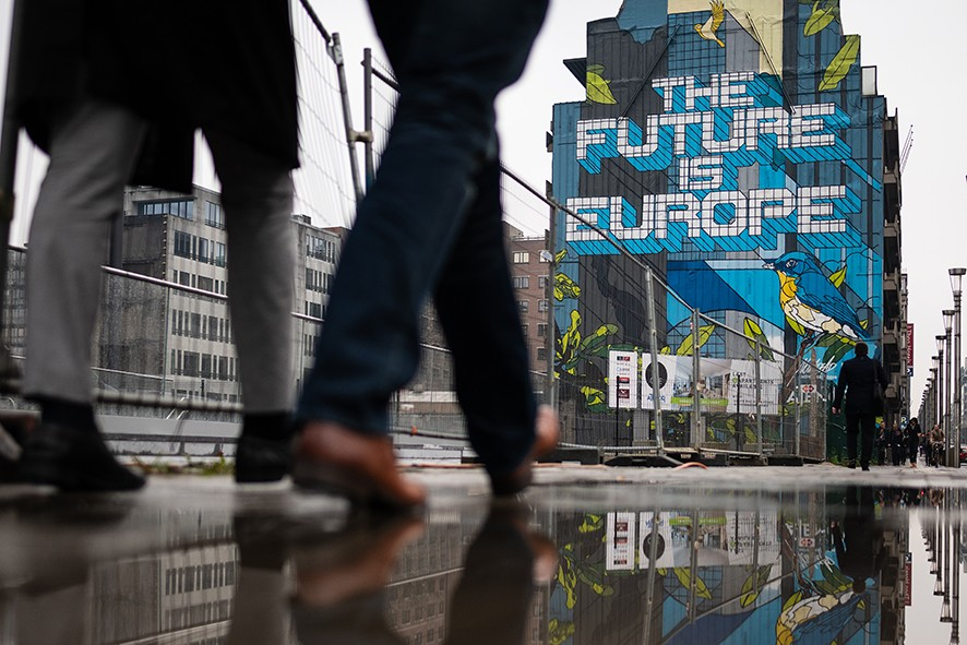 """BRUSSELS, BELGIUM - APRIL 09: Street art titled """"The Future Is Europe"""" by Belgian artist NovaDead is seen near to the headquarters of the European Council of Ministers on April 09, 2019 in Brussels, Belgium. British Prime Minister Theresa May will return to Brussels on April 10 for the """"Special Meeting of the European Council (Article 50)"""" summit, where members will vote on an extension for the withdrawal of Britain from the EU. (Photo by Leon Neal/Getty Images)"""