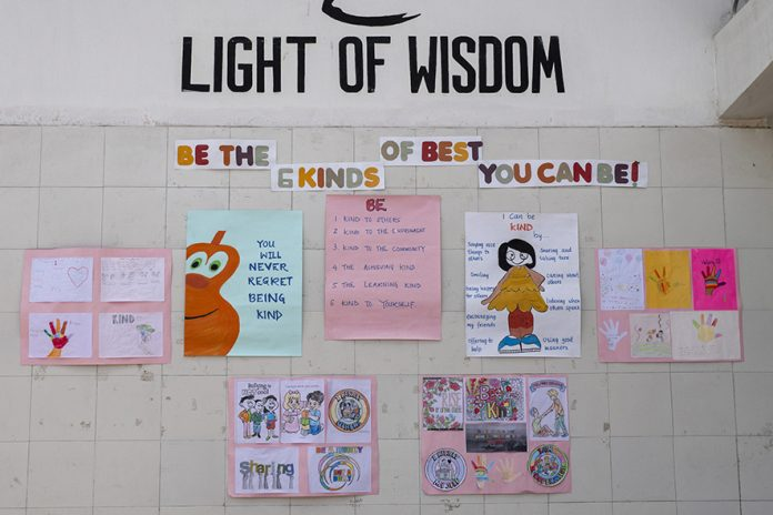 THIMPHU, BHUTAN - JUNE13 : At the Thimphu Primary private school english signs are seen on the walls to promote the spirit of education amongst the young students on June 13, in Thimphu, Bhutan. Bhutan is no ordinary place, it is known as an open democratic society. Bhutanese society is free of class or a caste system, the country has a very young population: more than half of the population is below the age of 25 years. Perhaps the last great Himalayan kingdom, where a traditional Buddhist culture carefully embraces global developments. The youth in Bhutan today live in a world very different from that known by their parents. Globalization, urbanization and new modes of mass and interpersonal communication have rapidly and radically changed the way young people interact with each other, with their families and with society as a whole. (Photo by Paula Bronstein/Getty Images for Lumix)