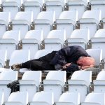 CHESTER-LE-STREET, ENGLAND - SEPTEMBER 26: A spectator sleeps in the lunch break during day three of the County championship match between Durham and Middlesex at Emirates Riverside on September 26, 2018 in Chester-le-Street, England. (Photo by Ian Horrocks/Getty Images)