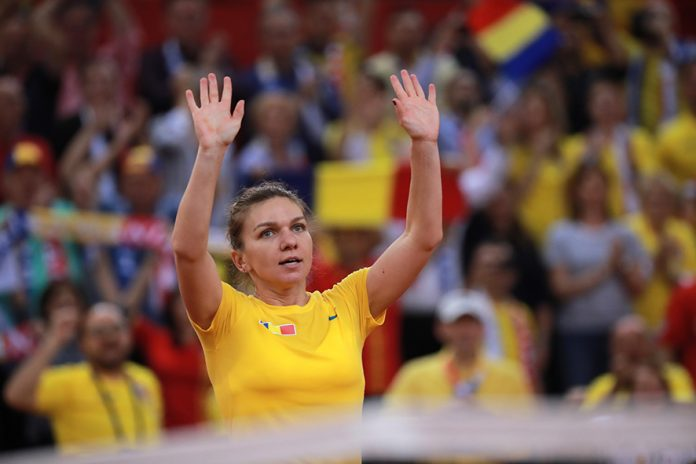 epa07519966 Simona Halep of Romania celebrates after winning her game against Caroline Garcia of France during the Fed Cup World Group, Semi Final between France and Romania, in Rouen, France, 21 April 2019. EPA/CHRISTOPHE PETIT TESSON