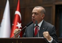 "Turkish President Recep Tayyip Erdogan addresses members of ruling Justice and Development Party (AKP) at their group meeting at the parliament in Ankara, Turkey, 07 May 2019. According to reports, the Turkish Electoral Commission has ordered a repeat of the mayoral election in Istanbul as President Recep Tayyip Erdogan's AK Party had alleged there was ""corruption"" behind his party losing. EPA/STR"