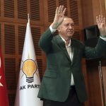 Turkey's President Recep Tayyip Erdogan gestures as he talks to members of his ruling Justice and Development Party, AKP, in Kizilcahamam, outside Ankara, Turkey, Sunday, April 28, 2019, during a three-day closed door meeting to assess recent local election results. Preliminary results show that AKP lost control of Turkey's largest city, Istanbul, and its capital, Ankara to the main opposition party. (Presidential Press Service via AP, Pool)