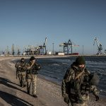 MARIUPOL, UKRAINE - NOVEMBER 29: Ukraine's Border Security Force soldiers patrol the coast of the Azov Sea near Mariupol Port as President Poroshenko declares martial law in response to the attacking and seizing of three Ukrainian naval vessels by Russian forces on November 29, 2018 in Mariupol, Ukraine. (Photo by Martyn Aim/Getty Images)