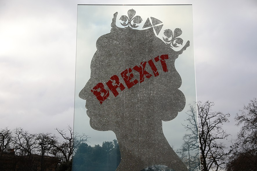 LONDON, ENGLAND - DECEMBER 10: A sculpture of the Queen's head by Italian artist Matt Marga is graffitied with the word BREXIT at Hyde Park on December 10, 2018 in London, England. (Photo by Dan Kitwood/Getty Images) The Prime Minister is holding meetings with her backbench MPs today in the hope of reassuring them about her EU Brexit deal ahead of tomorrow's crucial commons vote.