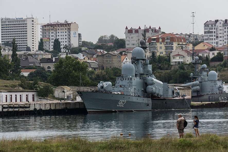 SEVASTOPOL, CRIMEA - AUGUST 12: Military ships seen on August 12, 2015 in Sevastopol, Crimea. Russian President Vladimir Putin signed a bill in March 2014 to annexe the Crimean peninsula but Ukraine and most of the international community do not recognise its annexation. (Photo by Alexander Aksakov/Getty Images)