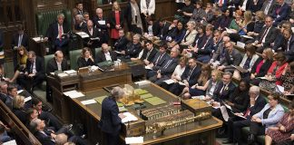 (190612) -- LONDON, June 12, 2019 (Xinhua) -- British Prime Minister Theresa May attends the Prime Minister's Questions at the House of Commons in London, Britain, on June 12, 2019. A bid by opposition politicians to stop Prime Minister Theresa May's successor from taking Britain out of the European Union without a deal was defeated Wednesday in the House of Commons. (Xinhua/UK Parliament/Mark Duffy) HOC MANDATORY CREDIT: UK Parliament/Mark Duffy