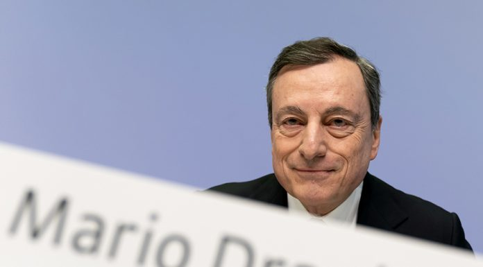 epa07496277 Mario Draghi, President of the European Central Bank (ECB), poses during a press conference following the meeting of the Governing Council of the European Central Bank in Frankfurt Main, Germany, 10 April 2019. The bank is expected to publish its decisions on monetary policies, including the monthly interest rate. EPA/RONALD WITTEK