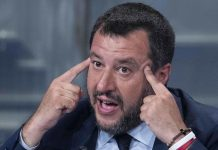 Italian Deputy Premier and Interior Minister, Matteo Salvini, speaks during the Raiuno Italian program 'Porta a porta' conducted by Italian journalist Bruno Vespa in Rome, Italy, 22 May 2019. EPA/MAURIZIO BRAMBATTI