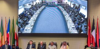 (190702) -- VIENNA, July 2, 2019 (Xinhua) -- Photo taken on July 2, 2019 shows a view of the 6th Organization of the Petroleum Exporting Countries (OPEC) and non-OPEC Ministerial Meeting held in Vienna, Austria. Ten non-OPEC oil producing countries led by Russia endorsed on Tuesday the decision by the OPEC to extend production cuts until next March. (Xinhua/Guo Chen)