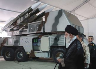 epa07662745 A handout file picture made available by Iranian Supreme Leader Office shows Iranian Supreme Leader Ali Khamenei next to Khordad-3 missile system during a revolutionary guard air force achievement exhibition in Tehran, 11 May 2014 (issued 21 June 2019). Media reported on 20 June 2019 that a US surveillance drone RQ-4A was shot down by an Iranian surface-to-air missile. Iran claims that the drone was in Iran airspace as US says the drone was flying over international water. EPA/HO HANDOUT HANDOUT EDITORIAL USE ONLY/NO SALES