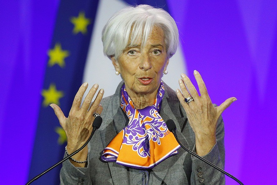 """International Monetary Fund (IMF) Managing Director Christine Lagarde delivers her speech during the Paris Forum entitled """"Sustainable Debt for Sustainable Growth"""" at Bercy economy ministry in Paris, Tuesday, May 7, 2019. (AP Photo/Francois Mori)"""