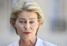 epa07735331 President-elect of the European Commission Ursula von der Leyen speaks to journalists with French President Emmanuel Macron , before their lunch at the Elysee Palace in Paris, France, 23 July 2019. Von der Leyen was approved by the European Parliament in a vote on 16 July 2019. EPA/Julien de Rosa