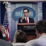 """WASHINGTON, DC - JULY 15: U.S. Treasury Secretary Steven Mnuchin talks to reporters about cryptocurrency in the Brady Press Briefing Room at the White House July 15, 2019 in Washington, DC. Mnuchin said the Treasury is very concerned about Facebook's Libra cryptocurrency and that he wants the government to """"make sure that the U.S. financial system is protected from fraud."""" (Photo by Chip Somodevilla/Getty Images)"""