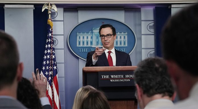 "WASHINGTON, DC - JULY 15: U.S. Treasury Secretary Steven Mnuchin talks to reporters about cryptocurrency in the Brady Press Briefing Room at the White House July 15, 2019 in Washington, DC. Mnuchin said the Treasury is very concerned about Facebook's Libra cryptocurrency and that he wants the government to ""make sure that the U.S. financial system is protected from fraud."" (Photo by Chip Somodevilla/Getty Images)"