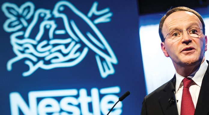 epa07498857 Nestle's CEO Ulf Mark Schneider speaks during the general meeting of the world's biggest food and beverage company, Nestle Group, in Lausanne, Switzerland, 11 April 2019. EPA/JEAN-CHRISTOPHE BOTT
