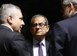 epa07647386 Italian Economy and Finance Minister Giovanni Tria at the start of the ECOFIN Finance Ministers meeting in Luxembourg, 14 June 2019. EU Finance ministers will discuss the taxation and financial aspects of the 'Clean Planet for all' communication by the Commission and the country specific recommendations of the 2019 European Semester. EPA/JULIEN WARNAND