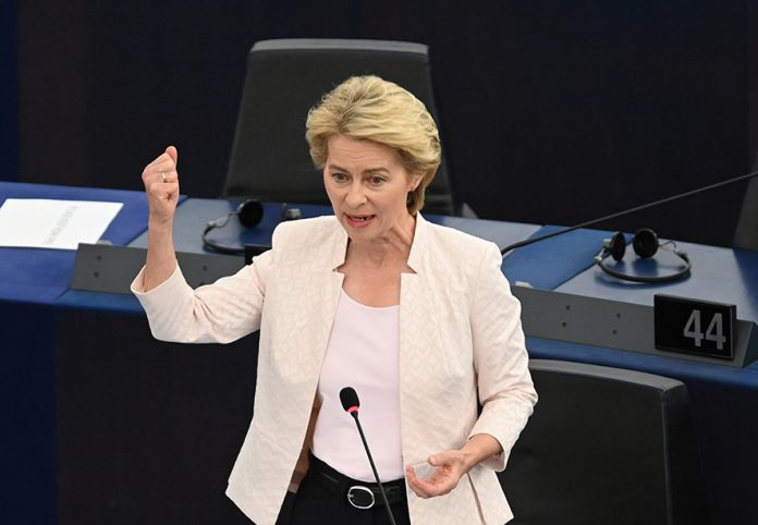 epa07719858 German Defense Minister Ursula von der Leyen and nominated President of the European Commission delivers her statement at the European Parliament in Strasbourg, France, 16 July 2019. EPA/PATRICK SEEGER