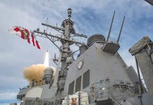190517-N-TI693-0077 ATLANTIC OCEAN (May 17, 2019) - The Arleigh Burke-class guided-missile destroyer USS Carney (DDG 64) fires an SM-2 missile during a live-fire exercise during Formidable Shield 19, May 17, 2019. Formidable Shield is designed to improve allied interoperability in a live-fire integrated air and missile defense environment, using NATO command and control reporting structures. (U.S. Navy photo by Mass Communication Specialist 1st Class Fred Gray IV/Released)