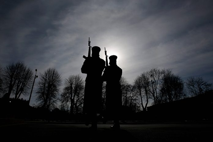 RIGA, LATVIA - MARCH 21: Guards from The Honor of the Headquarters Battalion of the National Armed Forces are pictured in front of The Freedom Monument honouring soldiers killed during the Latvian War of Independence from1918 to 1920 on March 21, 2013 in Riga, Latvia. (Photo by Dean Mouhtaropoulos/Getty Images)