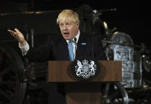 Britain's Prime Minister Boris Johnson during a speech on domestic priorities at the Science and Industry Museum in Manchester, England, Saturday July 27, 2019. Economists have warned that leaving the European bloc without an agreement in under 100-days would disrupt trade to impact on finances and investment. (AP Photo/Rui Vieira)