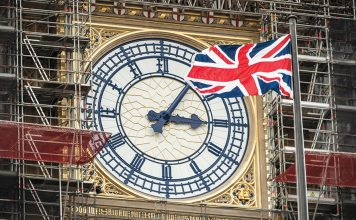 LONDON, ENGLAND - APRIL 02: The Union flag flies in front of the Clock face on the Queen Elizabeth Tower, commonly referred to as Big Ben on April 2, 2019 in London, England. The current deadline which the United Kingdom is to leave the European Union is April 12, 2019. (Photo by Dan Kitwood/Getty Images)