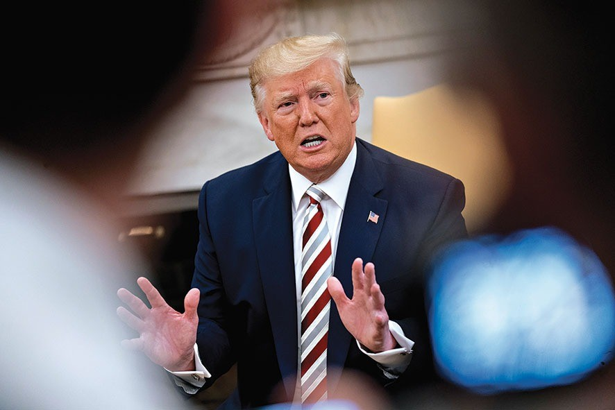 epa07782921 U.S. President Donald Trump speaks during a meeting with Klaus Iohannis, Romania's president, not pictured, in the Oval Office of the White House in Washington, D.C., USA, 20 August 2019. Trump said today he's 'not ready to make a deal with China,' but adds Beijing wants an agreement and something could happen soon. EPA/Andrew Harrer / POOL